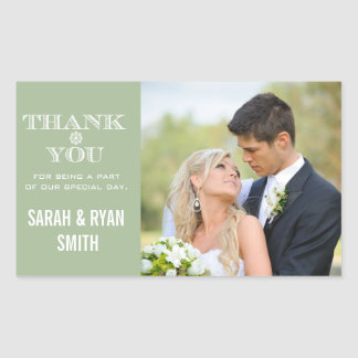 Cute Snowflake Mint Thank You Photo Stickers
