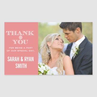 Cute Snowflake Peach Thank You Photo Stickers