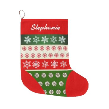 USA Themed Cute Snowflakes Pattern Large Christmas Stocking