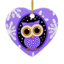 cute snowflakes purple owl ceramic ornament