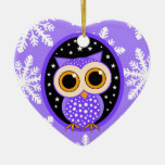 cute snowflakes purple owl Double-Sided heart ceramic christmas ornament