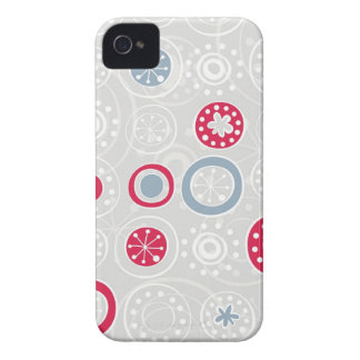 cute snowflakes white red and blue on gray Case-Mate iPhone 4 case