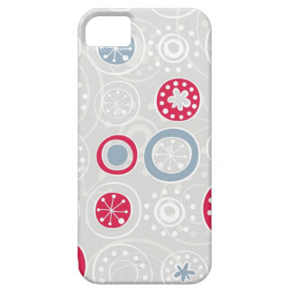 cute snowflakes white red and blue on gray iPhone SE/5/5s case
