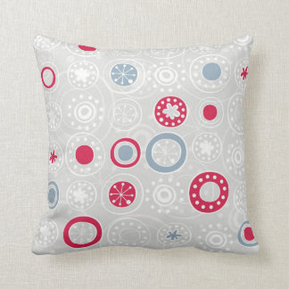 cute snowflakes white red and blue on gray pillow