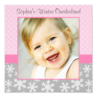 Cute Snowflakes Winter Onederland Photo Pink Gray Card