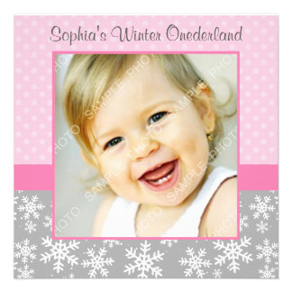 Cute Snowflakes Winter Onederland Photo Pink Gray Invites