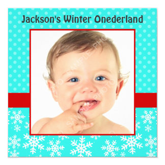 Cute Snowflakes Winter Onederland Photo Teal Red Card