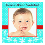 Cute Snowflakes Winter Onederland Photo Teal Red Invites