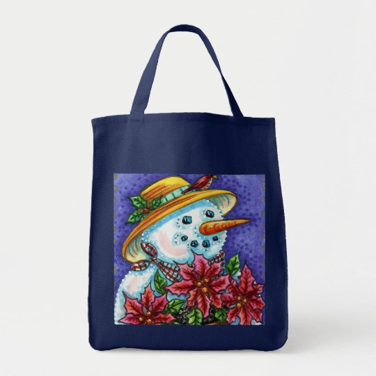 Cute Snowlady with Poinsettia Tote Bag