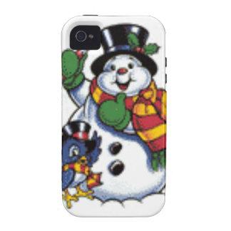 Cute Snowman And Bluebird Vibe iPhone 4 Case