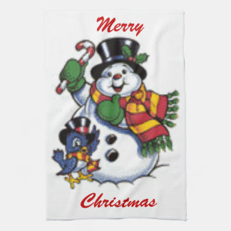 Cute Snowman And Bluebird Towel