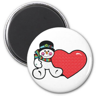 cute snowman and heart 2 inch round magnet