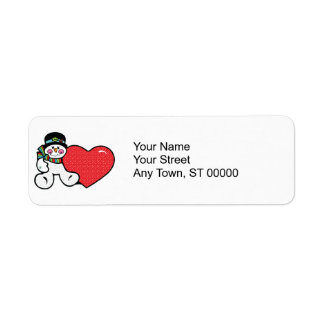 cute snowman and heart return address label