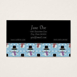 Cute Snowman and Snowflakes Pattern Business Card