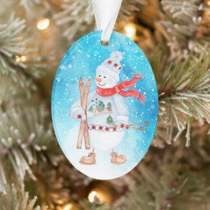 Skiing Snowman Christmas Ornaments Zazzle 100 Satisfaction Guaranteed