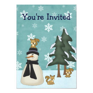 Cute Snowman and Squirrels Winter Birthday Card at Zazzle