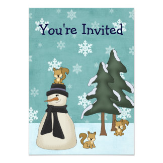 Cute Snowman and Squirrels Winter Birthday Card