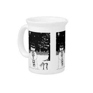 Cute snowman black and white Christmas design Beverage Pitcher