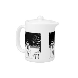 Cute snowman black and white Christmas design Teapot
