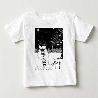 Cute snowman black white Christmas illustration Baby T-Shirt