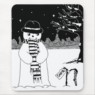 Cute snowman black & white Christmas illustration Mouse Pad