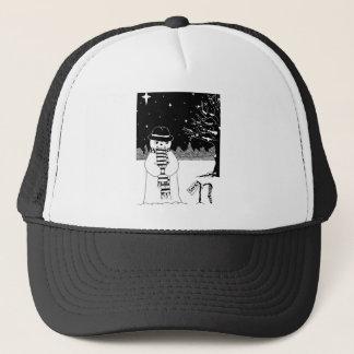 Cute snowman black & white Christmas illustration Trucker Hat