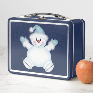 Cute Snowman Blue Metal Lunch Box