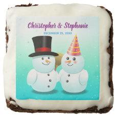 Cute Snowman Bride And Groom Xmas Wedding Chocolate Brownie