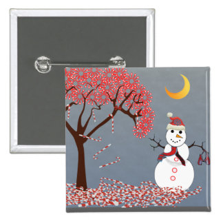 Cute Snowman 2 Inch Square Button