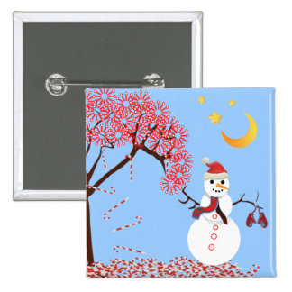 Cute Snowman Candy Cane Tree Magnet Pinback Button
