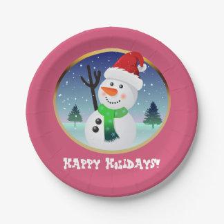 Cute Snowman Cartoon With Santa Hat Paper Plate