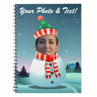 Cute Snowman Cartoon With Your Own Face Notebook