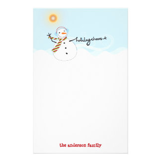 Cute Snowman Cheers Holiday Paper Stationery