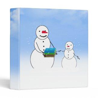 Cute Snowman & Child Back To School 3 Ring Binder