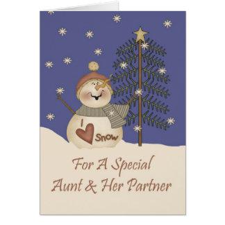 Cute Snowman Christmas Aunt & Partner Card