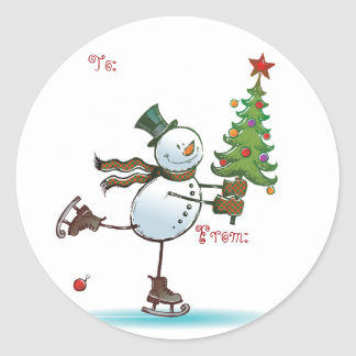 Cute Snowman Christmas Gift tags Classic Round Sticker