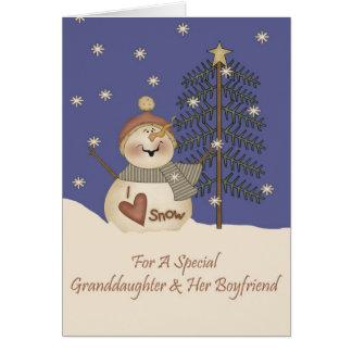 Cute Snowman Christmas Granddaughter & Boyfriend Greeting Card