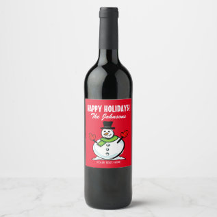 Cute Snowman Christmas Happy Holidays Personalized Wine Label at Zazzle