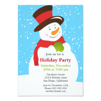 Cute Snowman Christmas Holiday Party Invitation