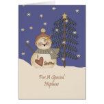 Cute Snowman Christmas Nephew Card