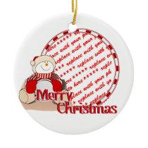Cute Snowman Christmas Photo Frame Ceramic Ornament