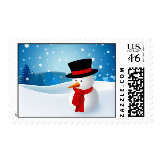 Cute Snowman Christmas Postage