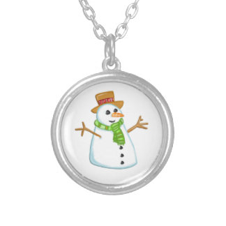 Cute Snowman Christmas Silver Plated Necklace
