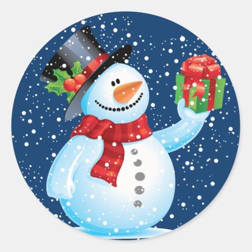 Cute Snowman Christmas Stickers Zazzle