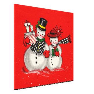 Cute Snowman Couple Canvas Print