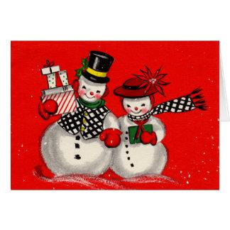 Cute Snowman Couple Greeting Card