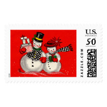 Cute Snowman Couple Postage