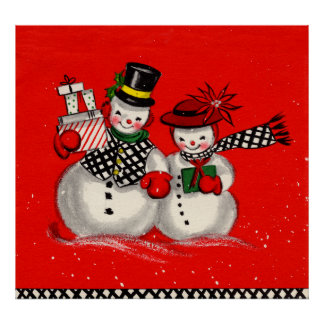 Cute Snowman Couple Poster