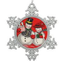 Cute Snowman Couple Snowflake Pewter Christmas Ornament