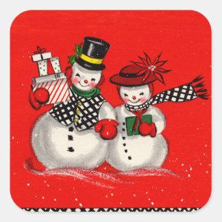 Cute Snowman Couple Square Sticker